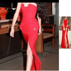 RARE Versace for h&m waistcoat silk slit red gown